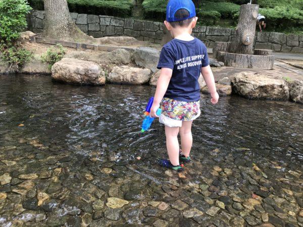 上尾丸山公園内小川に入る子供の写真