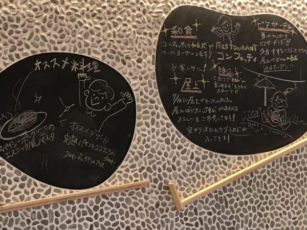 コンフェッテイ内の黒板の写真