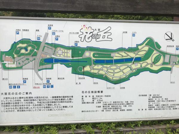 花の丘農林公苑の地図案内看板の写真