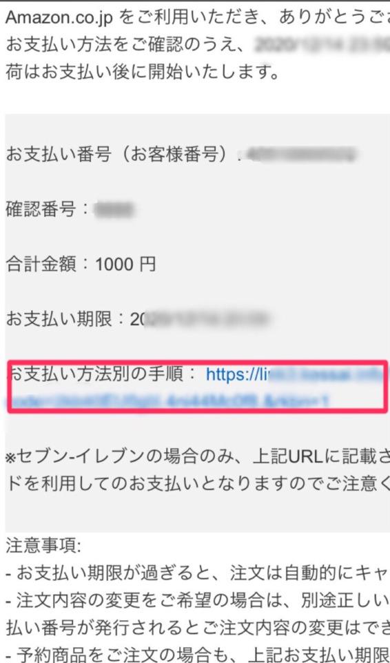 Amazon注文確認メール画像